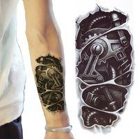 ingrosso sexy tatuaggi provvisori caldi-Autoadesivi temporanei del tatuaggio di trasferimento del tatuaggio del braccio del robot 3D nero tatuaggi temporanei caldo sexy freddo degli uomini spruzzo impermeabile
