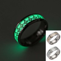 Wholesale freemason jewelry - Freemasons Ring Stainless Steel Fluorescent Glowing Finger Rings Band Glow In The Dark Gold Silver Pattern Rings Men Women Jewelry 080254