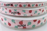 Wholesale Grosgrain Ribbon Printed Brand - RG0011 3 sizes mixed Printing Grosgrain Ribbons Pink 5 Yards lot Ladybug brand ribbon Decorated Craft and Scrapbooking