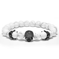 Wholesale Mens Jewelry Beads - Punk Crown Cubic Zirconia Spartan Skull Bracelets Mens White Nature Stone Beads Bracelet Jewelry Pulseira Masculina Homme