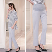 Wholesale Belly Maternity - Office Ladies Formal Work Maternity Belly Pants Autumn Spring Fashion Pregnancy OL Straight Pants for Pregnant Women