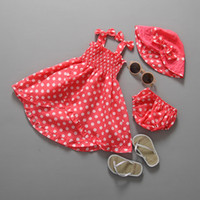 Wholesale Suspenders Hat - PrettyBaby 2016 red baby girls dress 3three-piece suits hat+dress+small shorts suspender dot style baby clothing free shipping