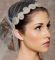 Wholesale Blue Hair Fascinators - 2016 New Wedding Bridal Rhinestone Bridal Headbands Crystal Ribbon Tie Back Cheap Bridal Hair Accessories Princess Fashion