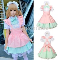 Wholesale Maid Uniform Cute - Wholesale-Lolita Cute Princess Short Sleeve Apron Dress Maid Outfits Meidofuku Uniform Cosplay Costume S-L