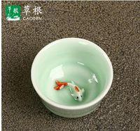 Wholesale Kung Fu Tea Set Sale - Gift 7 head celadon tea set longquan carp teapot teacup ceramic celadon kung fu tea factory direct sale A168
