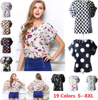 Wholesale Shirt For Woman Bird - S M L XL XXL Women Bird Printed Chiffon Blouses for Work Wear Polk Dot Shirt Women Tops Batwing Short-sleeve blusas 1039