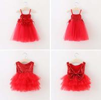 büyük kızlar yılbaşı elbiseleri toptan satış-Yeni bebek kız Noel dantel Tüy çiçekler elbiseler Santa kolsuz Sequins TuTu elbise çocuklar Büyük yay prenses elbise