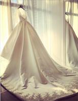 Wholesale Pure Silver Buttons - Long Sleeve Lace V-Neck Elegant Wedding Gowns Applique A-Line Pure White Sweep Train Elegant Wedding Dresses