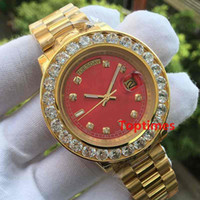 Wholesale Gold Mens Automatic - Mens Brand Role Watch Big Diamonds Day-Date Gold Stainless Steel President Automatic Mechanical Wristwatch Red Mens Reloj Luxury Watches