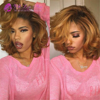 Wholesale Honey Blonde Lace Front Wigs - Virgin Mongolian Ombre Lace Front Bob Wigs #1B 27 Honey Blonde Two Tone Colored Short Bob Glueless Full Lace Wigs 130% Density