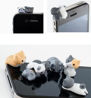 Wholesale Iphone Dust Plug Android - Fashion Hot 3.5MM Mobile Phone Earphone Jack Cute Cartoon Cat Model Dust-Proof Plug For iPhone For Android Smart Phone