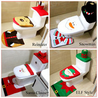 Wholesale White Bathroom Rug Set - Christmas toliet seat cover new arrival 4 style tank cover & rug bathroom set Christmas decoration bathroom & Home decoration Santa Clause