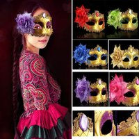 Wholesale Venetian Gifts - Masquerade Masks Venetian Face Mask Fashion Rose Bead Chain Crystal Party Decoration Halloween Christmas Gift HH7-155