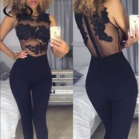 Wholesale Transparent Bodysuit For Women - 2016 Special for Valentine's Date Black Lace Bodysuit Women Transparent Mesh Embroidery 2016 Bodycon Jumpsuit Club combinaison femme