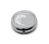 Wholesale Personalised Gift Boxes - Personalised Silver Chrome Pill Box Engraved Free! Pill Box Organiser Great Gift and comes with Bag