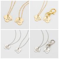 Wholesale friends friendship - 2 Pcs   Set Gold Silver Color Dog Bone Best Friends Charm Necklace And Dog Owner Women Men Friendship Pet Chain Keychain Jewelry