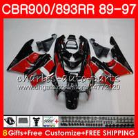Wholesale fairing 1989 resale online - CBR RR For HONDA red black CBR900RR CBR893RR HM10 CBR893 RR Fairing
