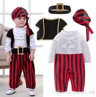 Wholesale Baby Pirate Romper - 2017 spring and autumn new styles Baby kids cute Pirate Captain boy romper 4 sets 100% cotton clothes kids romper free shipping