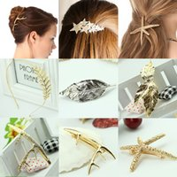Femmes Hairclips Dames Bijoux Or Argent Barrettes l'Europe Antique Épingles Charme Starfish Leaves Hair Star Clips Bandeaux