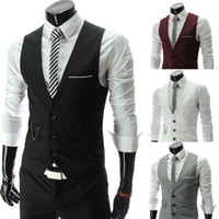 Wholesale Mens White Slim Fit Jackets - 2017 New Arrival Dress Vests For Men Slim Fit Mens Suit Vest Male Waistcoat Gilet Homme Casual Sleeveless Formal Business Jacket