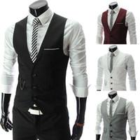 sıska erkekler için yelekler toptan satış-Erkekler Için 2018 Yeni Varış Elbise Yelekler Slim Fit Erkek Suit Yelek Erkek Yelek Jile Homme Rahat Kolsuz Örgün İş Ceket