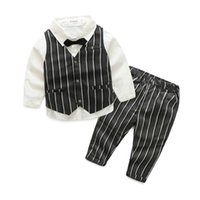 Wholesale Baby Waistcoat Outfit - Baby Boys Clothes 2017 Boys Cotton Shirts with Striped Waistcoats with Trouser Kids Boys Gentleman Outfits Kids Three Pieces