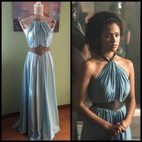 Wholesale Prom Dress Games - Game of Thrones Costume Daenerys Yunkai Missandei Slave Dresses 2017 Halter Neck Prom Dresses with Sash Game of Thrones Cosplay Costume