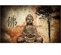 Wholesale Hand Painted Buddha - Framed 100% Hand Painted Asian Buddhist Art Oil Painting Buddha Figures,Home Wall Decor On High Quality Thick Canvas Multiple Size