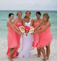 Wholesale Short Coral Strapless Chiffon Dress - Bridesmaid Dresses 2016 New Custom Summer Beach Coral Short Chiffon Sweetheart cheap Bridesmaids Dresses Pleated Brides maid Party Dress