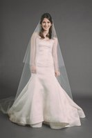 Wholesale Wedding Veil Ivory Cathedral 2t - New Hot Saling High Quality 2T Cut Edge Without Comb Lvory White Wedding Veil Cathedral Bridal Veils handmade Three Meters Long