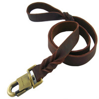 Wholesale Leather Leashes Wholesale - Cowhide Handmade Braided Stitch Leash Lead For Big Giant Dog Soft Durable Leather Leash 2.5CM Width, 90CM,120CM,150CM Length