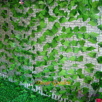 tapeçarias vermelhas venda por atacado-Atacado Artificial Red Maple Folha De Uva Folhas Verdes Vines Folha De Ouro Para A Árvore rattan Festa de Casamento Decoração de Casa Tapeçarias