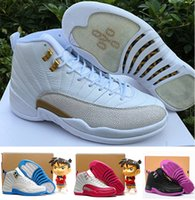 Wholesale Girl Canvas Sneakers - 2016 high quality air retro 12 GS Valentine's day woman girls basketball shoes GS Barons White Pink Hyper Violet ovo white Sports Sneakers