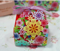 Wholesale Carton House - 100pcs European style Wedding Supplies Ribbons Included Carton Candy Boxs Hollow out flower Laser Cut Wedding Candy Gift Boxs THZ206