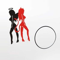 Wholesale Sexy Devil Pvc - Wholesale Sexy Angel & Devil Girl-Racer Good Bad Car Window Laptops Mirror Vinyl Decal Sticker Whole Body Use Self-adhesive and Removable