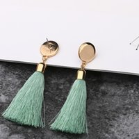 Tassel thread Charm crystal Earring Dangle Moda Carol Bijou jóias cor branco rosa opal resina plástica pedra post disco volta
