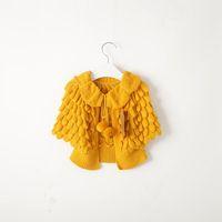 kız kazak ceketleri toptan satış-Perakende Çocuk Kız Örme Hırka Kazak Hırka Carseat Tığ Şeker Renk Pelerinler Panço Ceketler için Bahar Sonbahar
