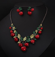 Wholesale Wholesale Indian Chokers - Statement Cherry Necklaces Earrings Set for women chokers necklaces Fashion temperament bride necklaces jewelry set free shipping