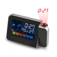 Numérique Prévision Météo écran LCD Clock Snooze Alarm Clock Display LED de couleur Table Backlight Horloges Desktop Projector
