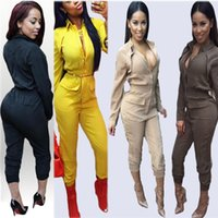 Wholesale Khaki Jumpsuits - Black Yellow Khaki Beige Fake 2 piece Elegant Rompers Women Jumpsuit Long Sleeve Bodysuit With Pockets Plus Size Overalls XL
