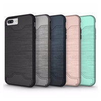 Wholesale Hard Wire - Hybrid Wire Drawing Hard Armor Case For iPhone X 8 7 6 6S Plus With Stand Card Holder Phone Cases Hard PC + Soft TPU Cover DHL free SCA313