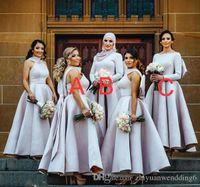 Wholesale Wedding Dresses Long Sleeves Hijab - Arabic muslim long sleeves hijab bridesmaid dresses satin with bow A-line v-neckline hijab wedding guest dresses