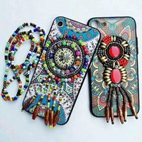 Wholesale Phone Jewel Cases - Ethnic style phone case for iphone x 8 plus 3D relife pattern pc tpu cover for iphone 7 plus 6 plus jewels accessorize