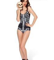 Wholesale Bones Swimsuit - 2016 hot sell vest skull bone type woman printed triangle one-piece swimsuit