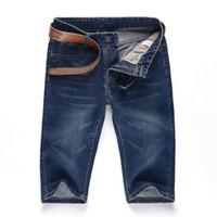 herren blue jeans shorts großhandel-Großhandels-Freies Verschiffen-Mens-Kurzschluss-Jeans-Hosen-beiläufige Hosen-Art- und Weisedesigner-hellblaue Männer der Männer 2016 Fitness-kurze Hosen