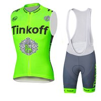 Wholesale Men S Khaki Vests - 2016 cycle jersey Tinkoff Summer Style Vest Sleeves BreathableClothing Quick-Dry Bicycle Sportwear GEL Pad Bike Bib Pants Fluo green yellow
