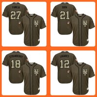Wholesale Strawberry Cotton Shirts - Mets 27 Jeurys Familia 21 Lucas Duda 18 Darryl Strawberry 12 Juan Lagares Green Salute to Service Stitched Baseball Jersey Top quality Shirt