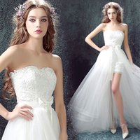 Wholesale Butterfly Beach Wedding - New Arrival Sweetheart Butterfly High Low Front Short Long Back Detachable Train Wedding Dresses Bridal Gowns