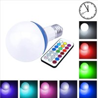 Wholesale 21 bulb - Dimmable RGB LED Light Bulb E27 10W 12 Color Cool White LED Spot Lamp With 21 Key IR Remote Controller With Timing Function