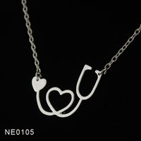 Wholesale Necklace Nurse - Drop shipping - Fashion 18K Gold Rose Gold Silver Plated Medical Stethoscope Heart Collar Body Chain Necklace Jewelry Gift for Nurse Doctor